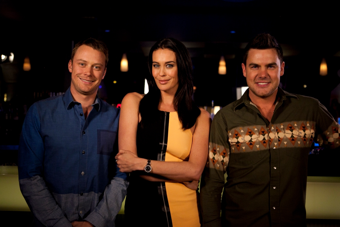 Ep15 Guest star Megan Gale, with Michael Dorman and Ben Mingay 3056