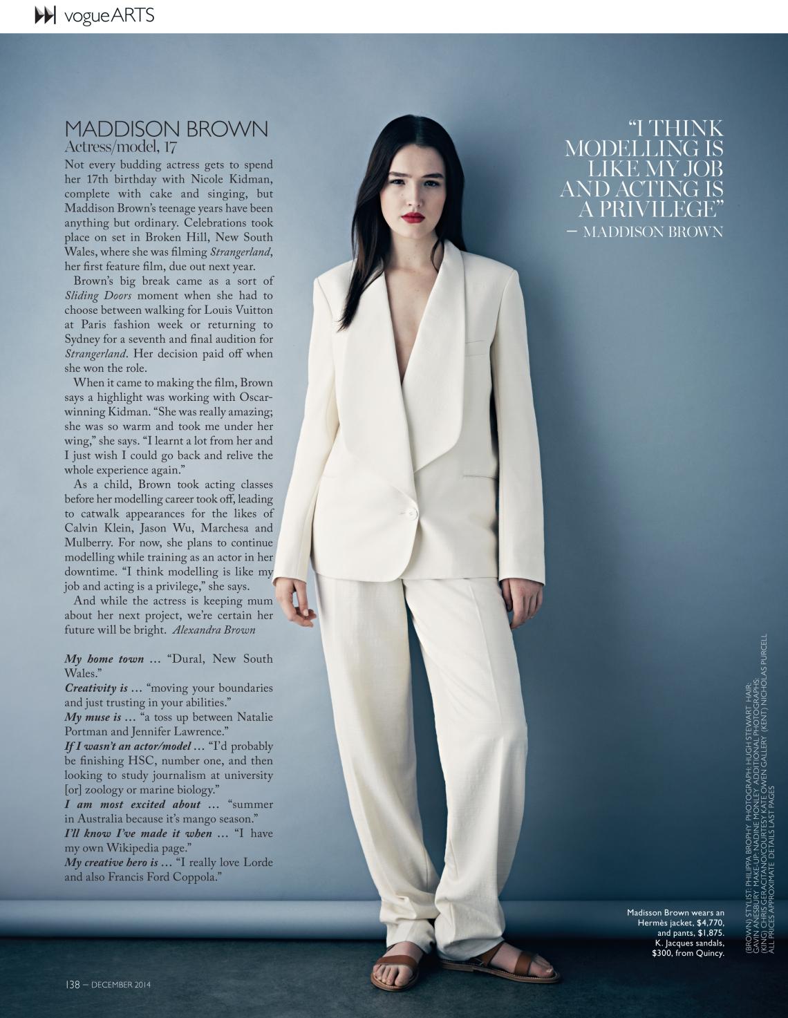 Maddison Brown - Vogue Aus Dec 2014